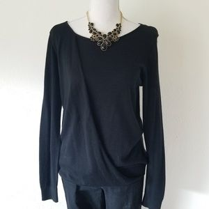 Vince Camuto Drape Front Light Sweater Black Small